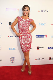 Karina Smirnoff chose a red and white printed dress for her look at the Baseball's All-Star bash in NYC.