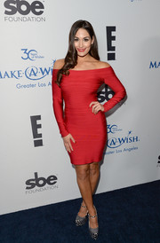 Nicole Bella was red-hot in an off-the-shoulder bandage dress at the Make-A-Wish Greater LA Gala.
