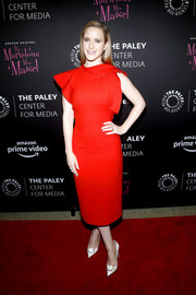 Rachel Brosnahan was a vision in a bright red Oscar de la Renta dress with ruffle sleeves at the Making Maisel Marvelous event.