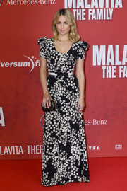 Dianna Agron looked very girly in a black-and-white floral gown by Carolina Herrera at the premiere of 'The Family.'