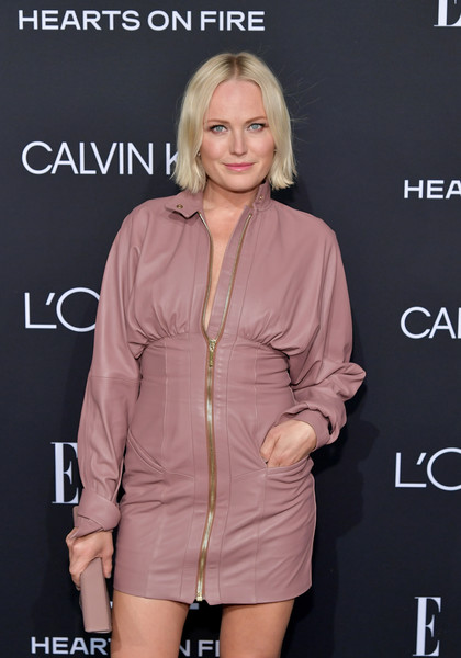 Malin Akerman Leather Dress [elle,hearts on fire,loreal paris,red carpet,clothing,hairstyle,fashion,outerwear,dress,lip,shoulder,joint,blond,cocktail dress,los angeles,beverly hills,california,25th annual women in hollywood celebration,calvin klein,malin akerman]