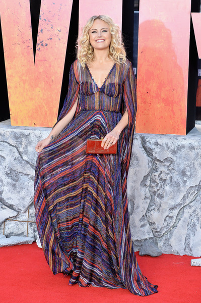 Malin Akerman Sheer Dress [european premiere of rampage,flooring,fashion model,carpet,fashion,dress,red carpet,long hair,pattern,gown,fashion design,red carpet arrivals,malin akerman,rampage,european,england,london,cineworld leicester square,premiere]