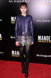 Sami Gayle showed off her edgy-chic style with this purple leather jacket and snakeskin-print dress combo at the 'Mandela: Long Walk to Freedom' screening.