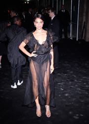 Shanina Shaik went for a glam finish with a pair of silver Jimmy Choo Lance sandals.