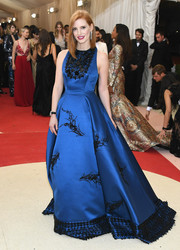 Jessica Chastain left us breathless with this embellished royal-blue princess gown by Prada at the Met Gala.