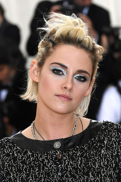 Kristen Stewart got punky with this messy half-up style for her Met Gala look.