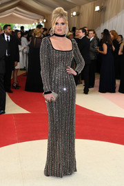 Lara Stone brought plenty of sparkle to the Met Gala with this beaded square-neck gown.