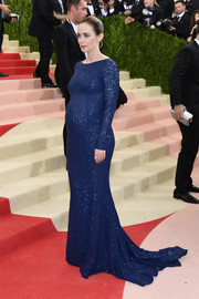 Emily Blunt was classic in a beaded blue maternity gown by Michael Kors at the Met Gala.