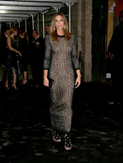 Cindy Crawford changed out of her Met Gala gown into this more comfy patterned maxi dress by Balmain for an after-party.