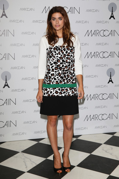 Alyson sported a playful leopard-print frock with a bold green stripe while out at the Marc Cain photo call in Berlin.