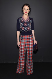 Juliette Lewis was preppy in a colorful argyle V-neck sweater by Marc Jacobs while attending the label's fashion show.