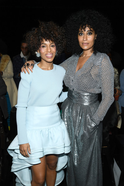 More Pics of Tracee Ellis Ross Pumps (1 of 7) - Tracee Ellis Ross Lookbook - StyleBistro [white,fashion,lady,dress,fun,leg,event,shoulder,joint,human body,marc jacobs,kerry washington,tracee ellis ross,front row,new york city,park avenue armory,marc jacobs fall 2019 show]