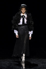 Kaia Gerber got frilled up in a heavily ruffled jacket for the Marc Jacobs runway show.