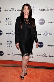 Julia Ormond exuded timelessness in a black blazer layered over a lace LBD at the March of Dimes celebration of Babies Luncheon.