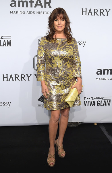 Marcia Gay Harden Envelope Clutch [clothing,fashion model,cocktail dress,dress,shoulder,fashion,hairstyle,yellow,leg,footwear,arrivals,marcia gay harden,new york city,cipriani wall street,amfar new york,amfar new york gala]
