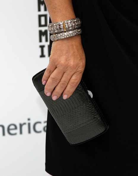Marcia Gay Harden Leather Clutch [fashion,bracelet,jewellery,fashion accessory,bangle,hand,finger,chain,wrist,nail,marcia gay harden,museum of the moving image inaugural envision award,detail,bracelet,purse,museum of the moving image inaugural envision award gala dinner,new york city,museum of the moving image,gala dinner]