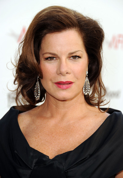 Marcia Gay Harden Dangling Diamond Earrings [red carpet,hair,face,hairstyle,eyebrow,chin,lip,beauty,brown hair,shoulder,layered hair,shirley maclaine,marcia gay harden,afi life achievement award,tribute,9pm et,sony pictures studios,culver city,california,tv land]