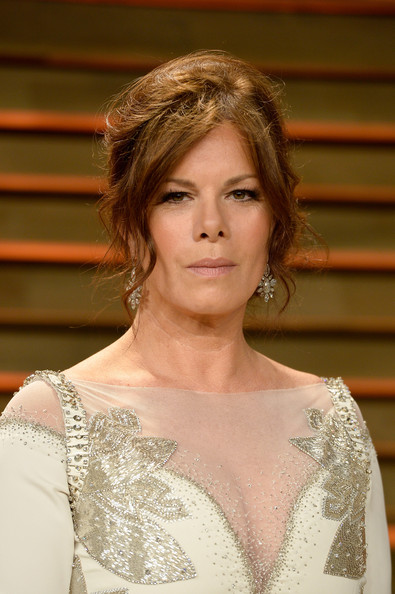 Marcia Gay Harden Messy Updo [hair,shoulder,hairstyle,beauty,eyebrow,fashion,skin,chin,blond,joint,marcia gay harden,graydon carter,stars,west hollywood,california,vanity fair,oscar party]