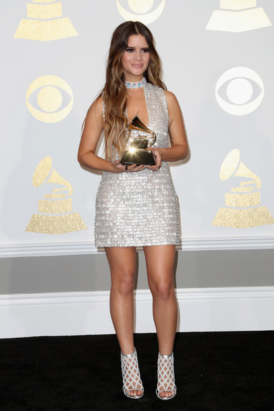 Maren Morris Cutout Dress [clothing,dress,fashion,cocktail dress,fashion model,footwear,shoulder,beauty,yellow,blond,maren morris,best country solo performance for my church,room,press room,staples center,los angeles,california,grammy awards]