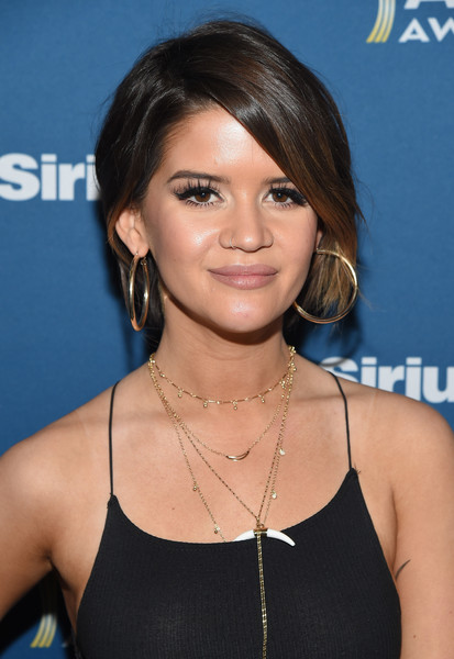 Maren Morris Gold Hoops [the highway channel broadcasts backstage leading up to the american country music awards,hair,hairstyle,chin,black hair,layered hair,bob cut,brown hair,bangs,long hair,eyelash,maren morris,t-mobile arena,las vegas,nevada,siriusxm,the highway channel,academy of country music awards]