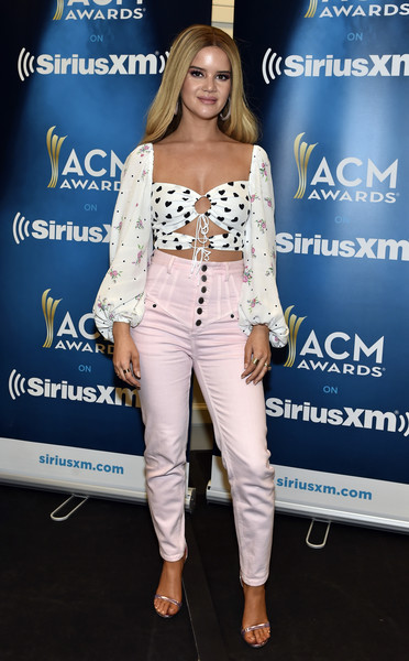 Maren Morris High-Waisted Pants [the highway channel broadcasts,clothing,fashion,shoulder,hairstyle,footwear,fashion design,suit,outerwear,long hair,jeans,maren morris,broadcast,las vegas,nevada,mgm grand garden arena,siriusxm,acms,the highway]