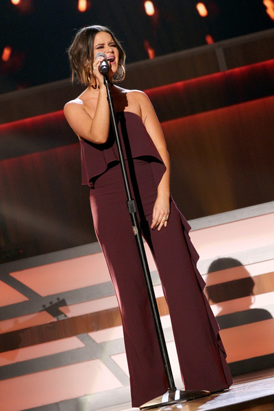 Maren Morris Jumpsuit [performance,entertainment,singing,performing arts,music,singer,music artist,public event,event,musician,nashville,tennessee,ryman auditorium,acm honors - show,acm honors,maren morris]