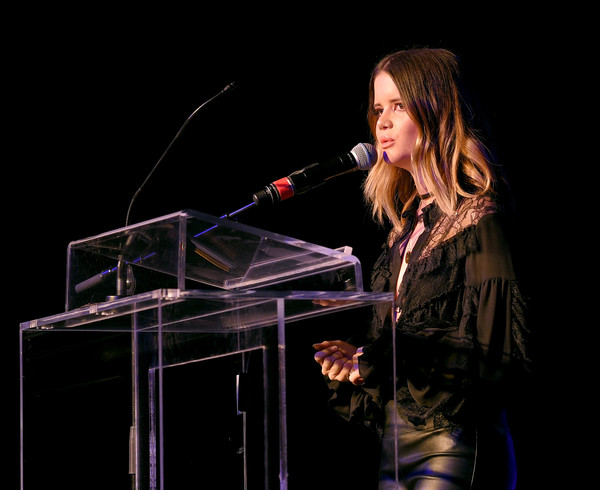 Maren Morris Ruffle Blouse [performance,entertainment,singing,singer,performing arts,music artist,microphone stand,event,music,microphone,maren morris,nashville,tennessee,marathon music works,onsite foundation 2018 inspire event,the onsite foundation,event]