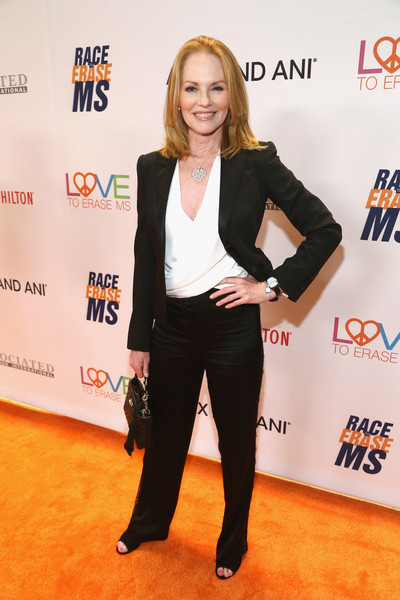 Marg Helgenberger Pantsuit [carpet,suit,red carpet,event,flooring,premiere,blazer,pantsuit,formal wear,tuxedo,gala,marg helgenberger,race,beverly hills,california,the beverly hilton hotel]