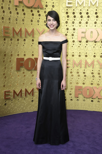 Margaret Qualley Off-the-Shoulder Dress [dress,clothing,red carpet,carpet,shoulder,gown,flooring,fashion,fashion model,a-line,arrivals,margaret qualley,emmy awards,microsoft theater,los angeles,california]