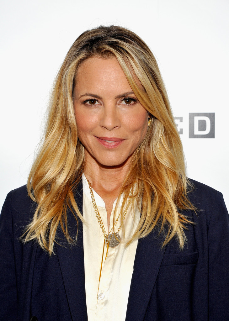 Maria Bello Long Wavy Cut Maria Bello Looks Stylebistro