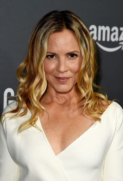Maria Bello Medium Wavy Cut [hair,blond,human hair color,hairstyle,fashion model,beauty,chin,eyebrow,layered hair,long hair,red carpet,maria bello,goliath,west hollywood,california,the london,amazon,premiere,premiere screening]