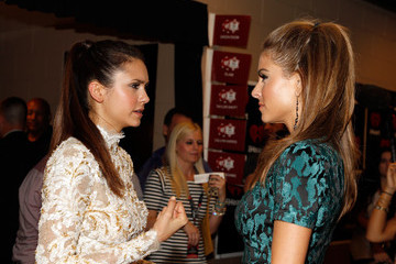 Maria Menounos Nina Dobrev 2012 iHeartRadio Music Festival - Day 2 - Backstage