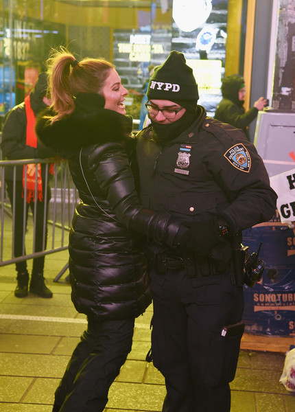 More Pics of Maria Menounos Leather Gloves (2 of 46) - Leather Gloves Lookbook - StyleBistro [maria menounos,steve harvey live,police,police officer,law enforcement,official,costume,supervillain,uniform,fictional character,street,security,times square,new york city,marriott marquis times square]