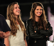 Christina Schwarzenegger wore her golden brown hair in long loose waves at Maria Shriver's Women's Conference.