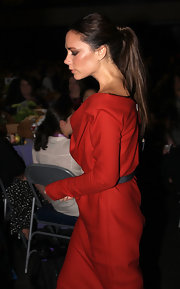 Victoria Beckham looked empowered wearing an architectural red dress and a long, sleek ponytail at the Maria Shriver Women's Conference.