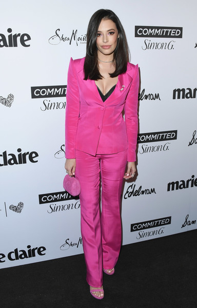 More Pics of Chloe Bridges Long Straight Cut (1 of 6) - Chloe Bridges Lookbook - StyleBistro [marie claires 5th annual fresh faces,chloe bridges,poppy,suit,clothing,pink,pantsuit,outerwear,magenta,formal wear,premiere,tuxedo,carpet,california,los angeles,arrivals]