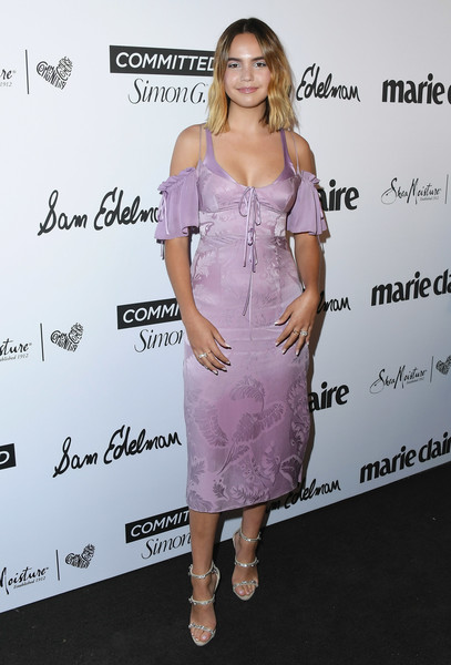 More Pics of Bailee Madison Strappy Sandals (1 of 13) - Bailee Madison Lookbook - StyleBistro [marie claires 5th annual fresh faces,bailee madison,poppy,clothing,dress,cocktail dress,shoulder,hairstyle,pink,fashion,joint,footwear,premiere,california,los angeles,arrivals]