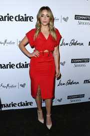 Chloe Bennet completed her outfit with nude ankle-strap pumps.