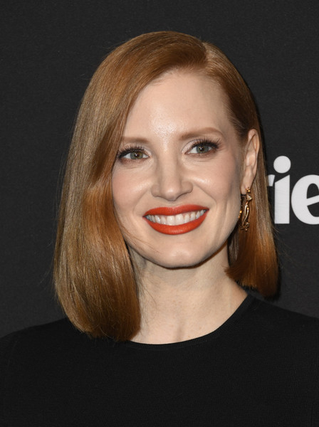 More Pics of Jessica Chastain Asymmetrical Cut (1 of 11) - Shoulder Length Hairstyles Lookbook - StyleBistro [marie claire change makers celebration,jessica chastain,hair,face,lip,hairstyle,eyebrow,blond,facial expression,chin,beauty,head,hills penthouse,west hollywood,california,arrivals]