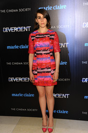 A pair of pink and nude Charlotte Olympia platform pumps added a vintage vibe to Zosia Mamet's look.
