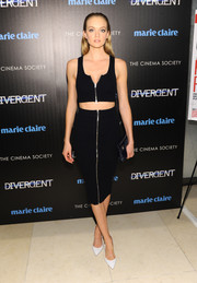 Lindsay Ellingson wore her crop-top with a matching black pencil for a totally head-turning look.