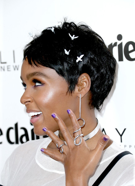 Janelle Monae worked an adorable bird-embellished pixie at the Marie Claire Fresh Faces celebration.