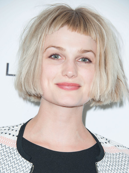 Alison Sudol looked quirky with her messy short 'do and baby bangs at the Marie Claire Fresh Faces party.