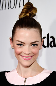 Jaime King pulled her hair up into a tight top knot for the Marie Claire Fresh Faces party.