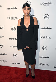 Alexandra Shipp flaunted some cleavage in a deep-V cold-shoulder cutout dress by Solace London during Marie Claire's Image Maker Awards.