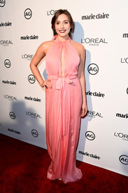 Elizabeth Olsen was equal parts sweet and sultry in a pink keyhole-cutout halter gown by Emilio Pucci during Marie Claire's Image Maker Awards.