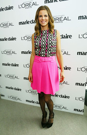 Natalie Morales looked vibrant in her geometric-print blouse during the Marie Claire Power Women Lunch.