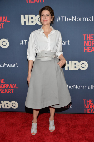 Marisa Tomei Oversized Belt [the normal heart,flooring,carpet,fashion,red carpet,outerwear,cocktail dress,trunk,joint,premiere,fashion design,marisa tomei,part,nyc,ziegfeld theater,premiere]