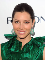 Jessica Biel showed off her classic bun while hitting the Markbeauty.com launch in New York.