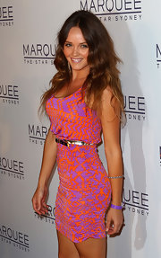 Rebecca Breeds showed off her super-slim figure in a shirred print dress.